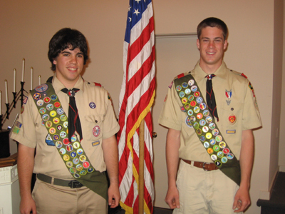 Recent Eagle Scouts Joseph Jerabek and Terence Enders