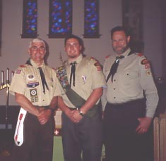 Scoutmaster Mike Skinner and Eagle Scout Aaron Diehl and Assistant Scoutmaster Ken Diehl