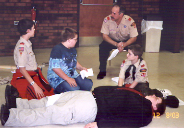Troop 40 Emergency Disaster Simulation, December 8, 2003.  Photo by Ken Gallagher.